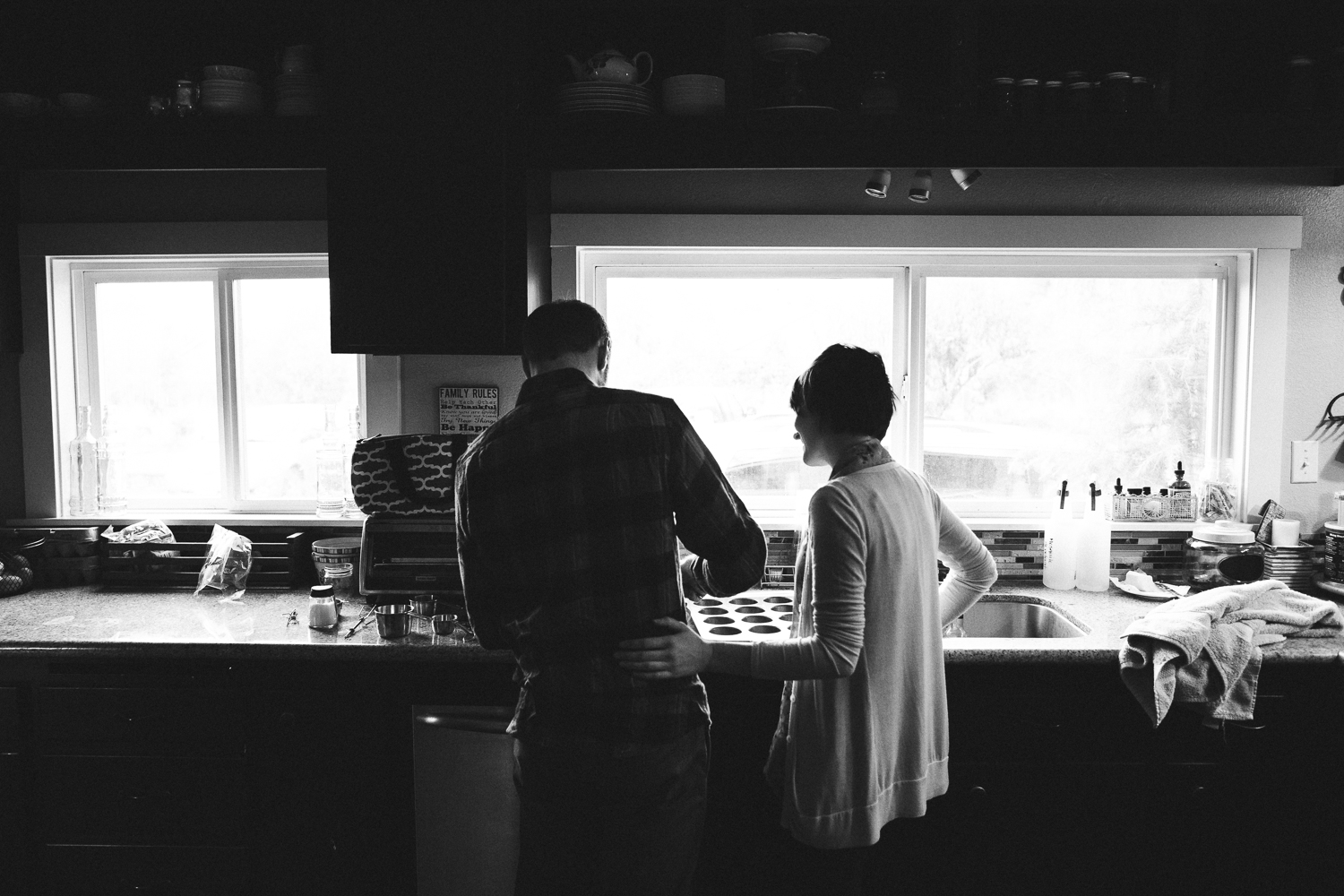 husband and wife cooking together