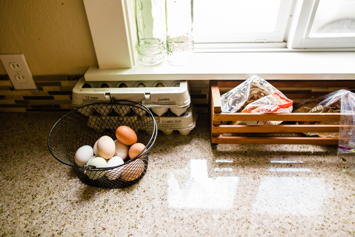 fresh eggs on the counter