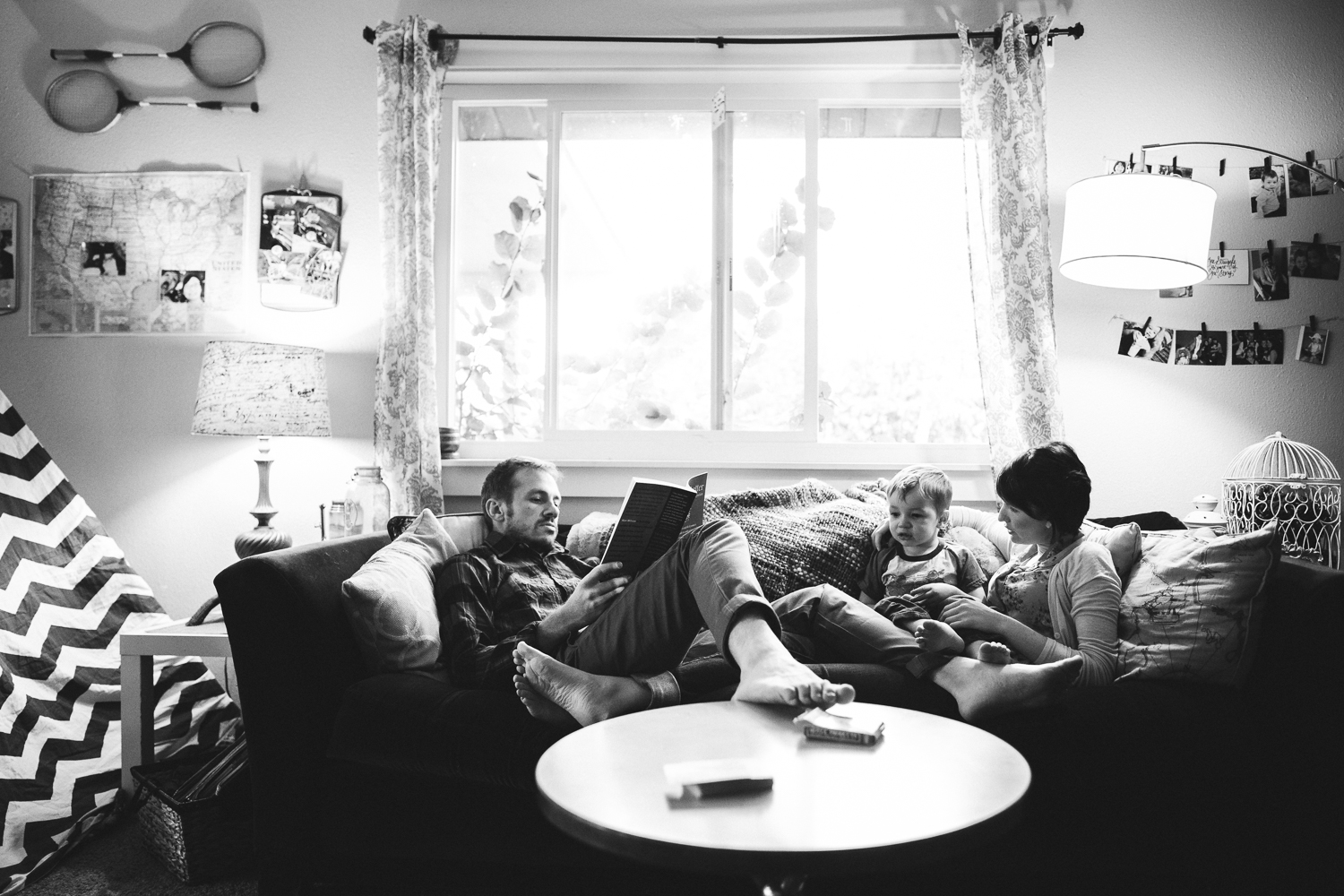 family having fun on a couch
