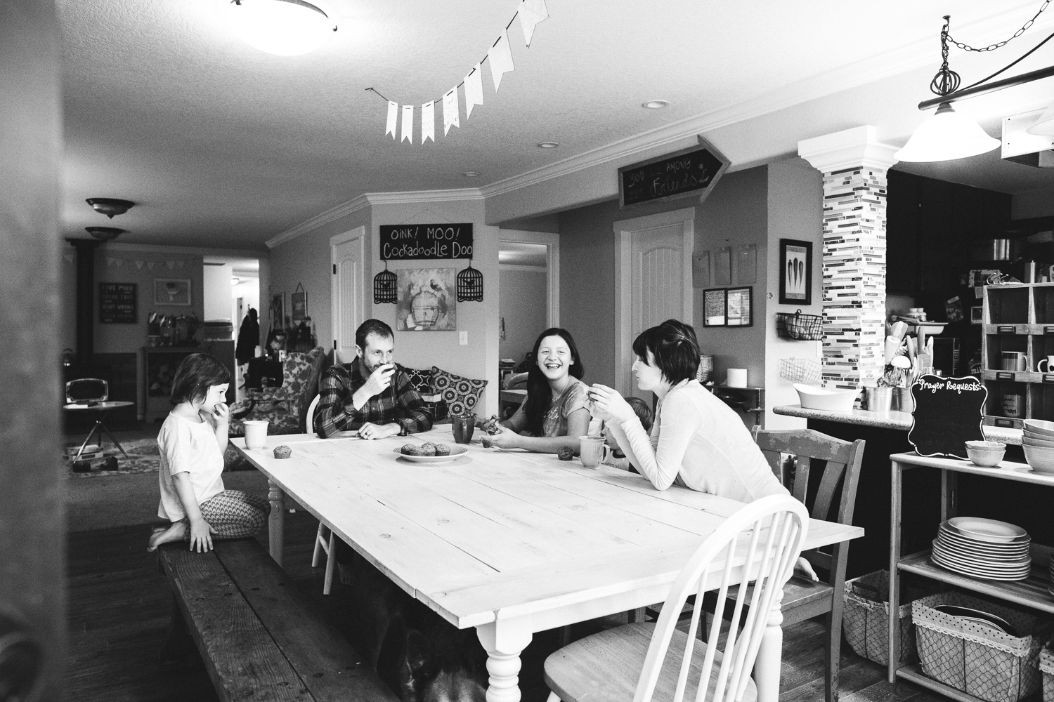 family eating together at the table
