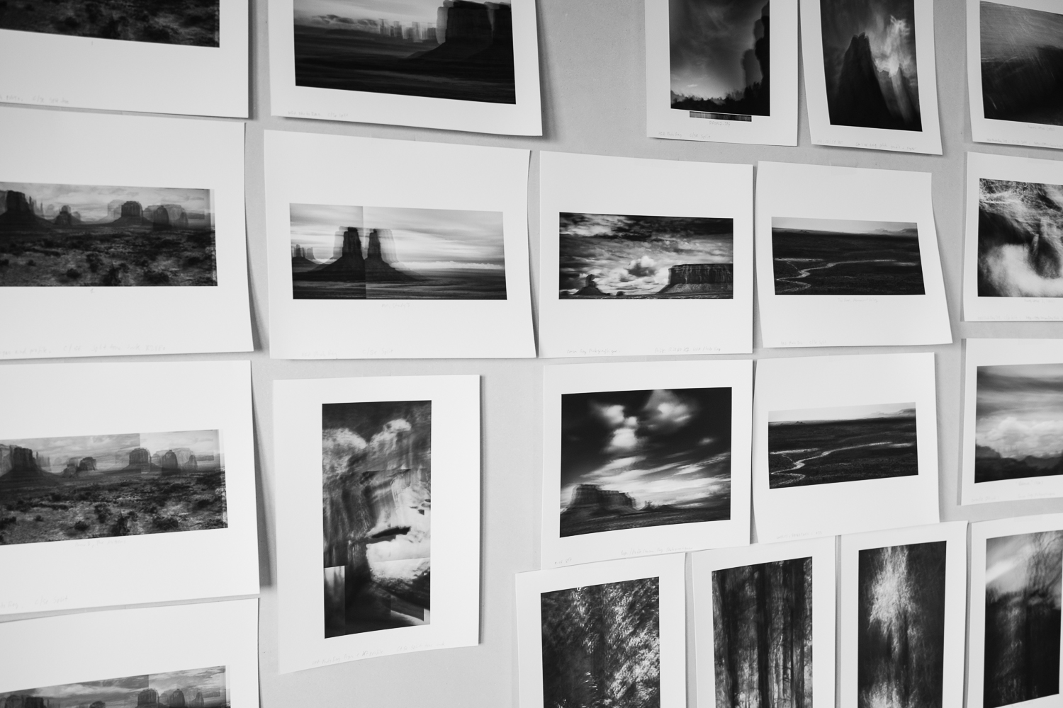 Work prints being evaluated on the wall in the studio. A long process. And not all work prints become master prints!
