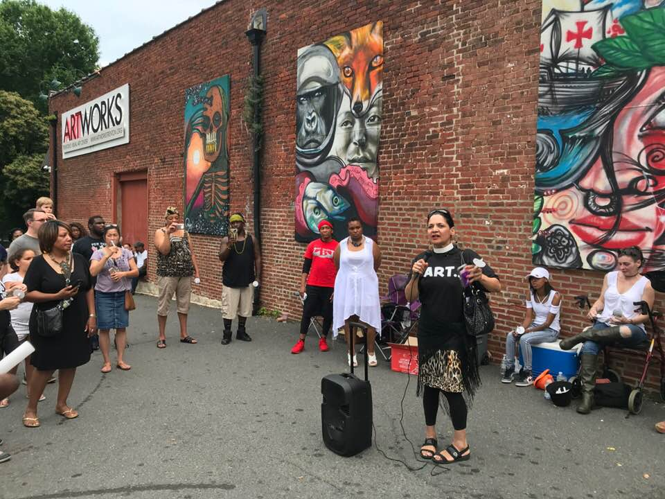 Pastor Karen Hernandez-Granzen was asked to offer a prayer and pastoral support at ArtWorks following a shooting at Art All Night.