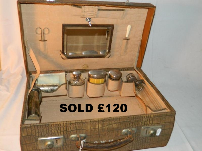 Fine quality pressed leather gents suitcase toiletry set 1920's