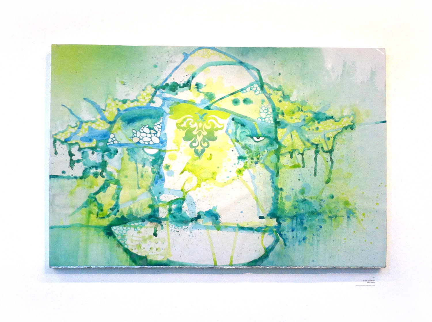 """Watercolor, Spray Paint, Cut Vinyl, & Colored Pencil on Watercolor paper and mounted on Foam  40"""" x 24"""""""
