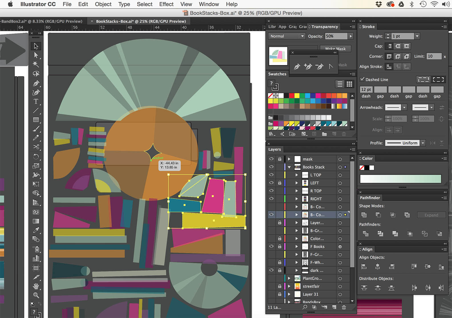 Creating & Composing digital art provides Flexibility, live visualizing, and the ability to make mockups, outputable cut files, and are great guides for installation & execution.
