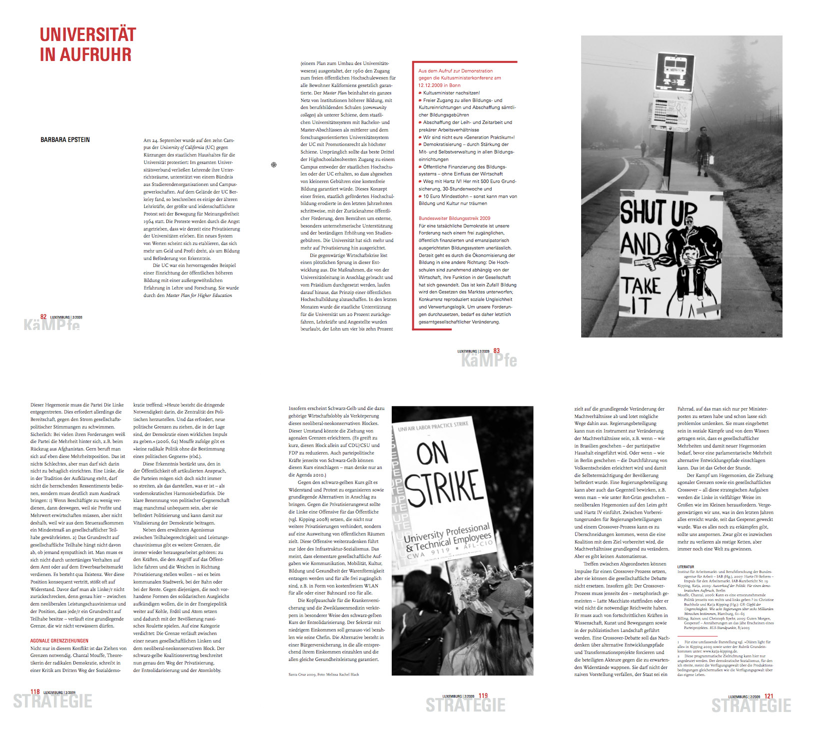 Photos of the 2008 University of California budget cut protests featured in German publication, Strategie.