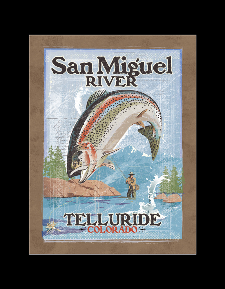 Vintage Fly Fishing Poster NEW for Telluride summer season!