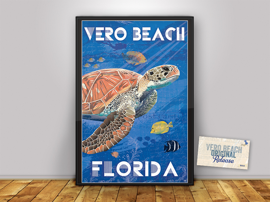 Modern/Vintage Loggerhead Nesting In Florida Poster Print