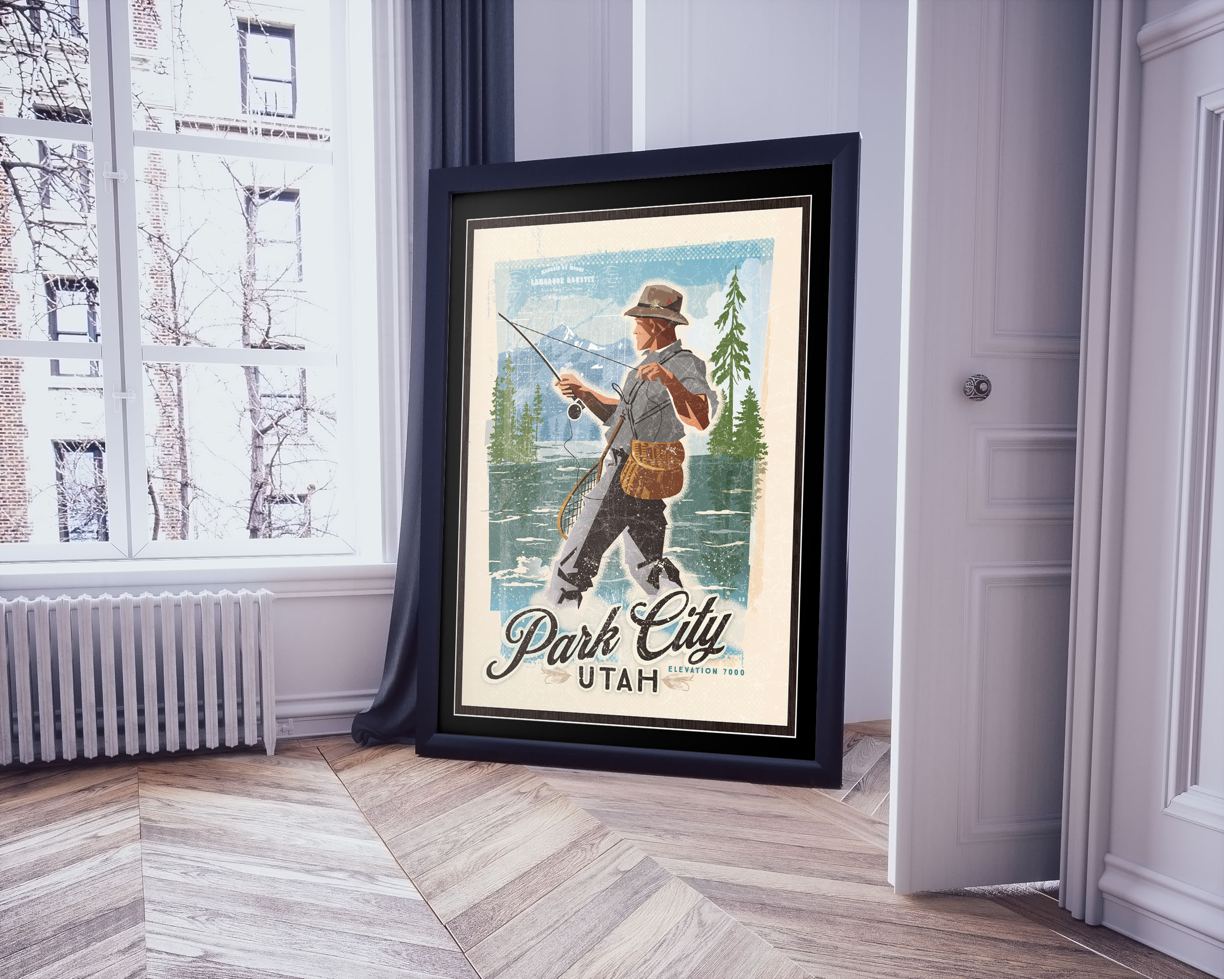 Poster-frame-on-the-floor Park City River Runs.jpg
