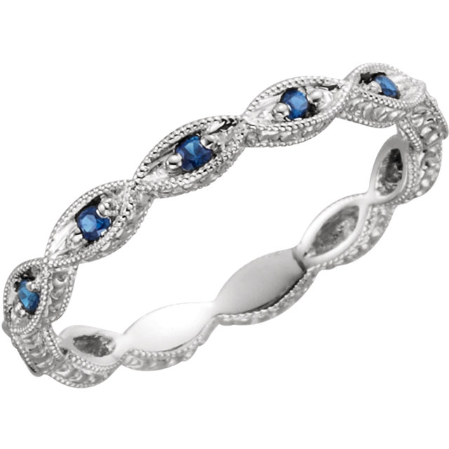 Copy of 14kt White Blue Sapphire Anniversary Band