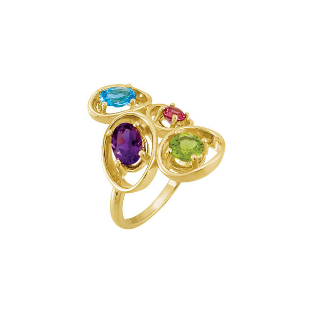 Copy of Swiss Blue Topaz, Amethyst, Peridot & Rhodolite Garnet Ring