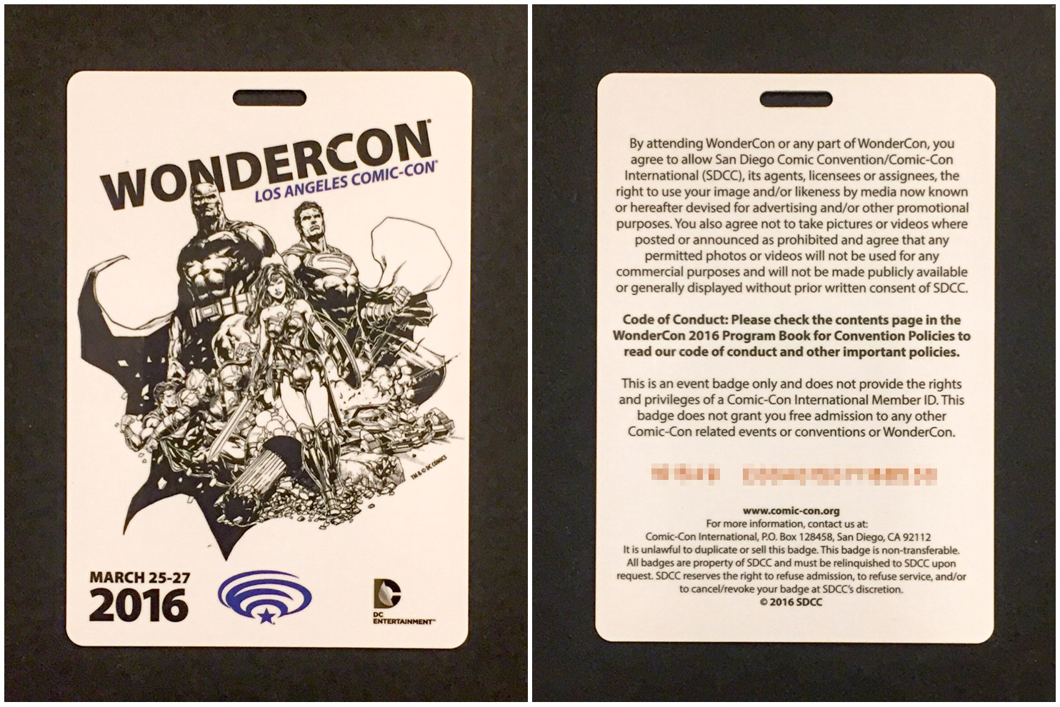 Front and back view of RFID badge outside of badge holder. Awesome artwork by Jason Fabok.