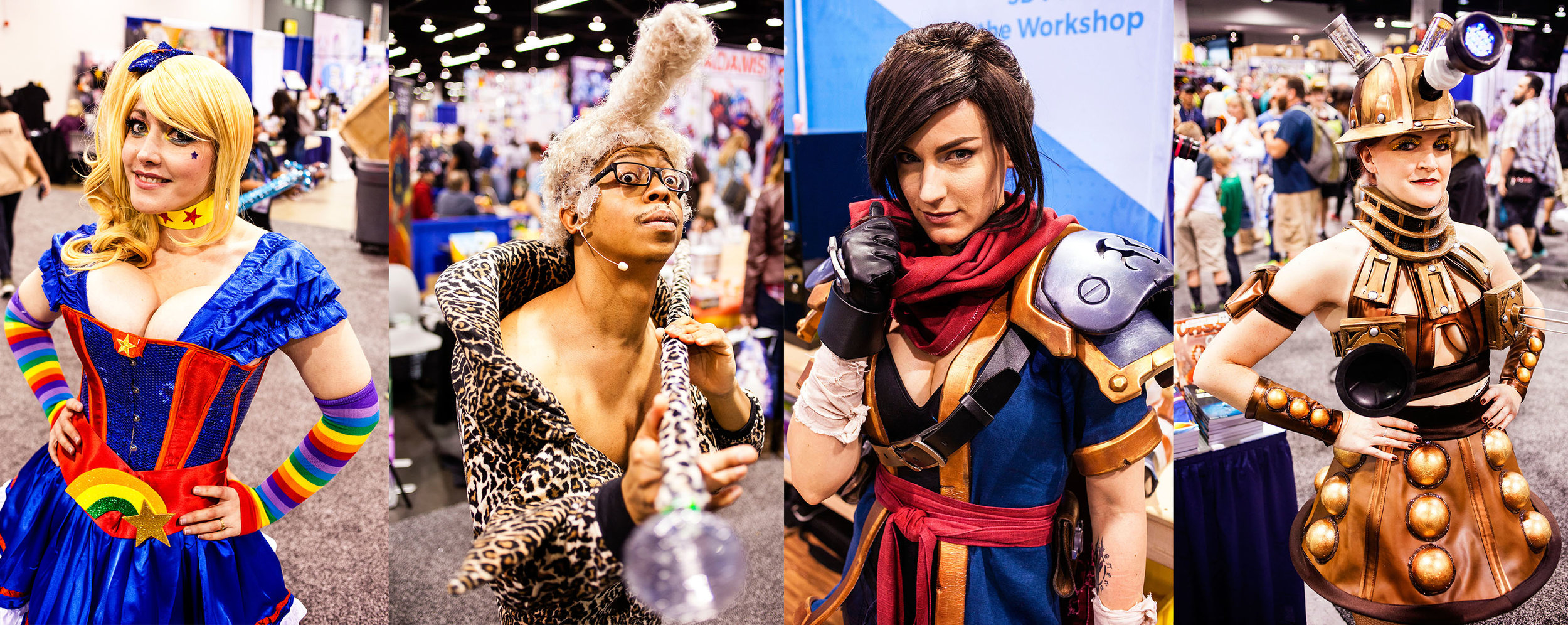 "@AlinaMasquerade as Rainbow Brite; @WindStriker007 as Ruby Rod from ""The Fifth Element""; @VertVixen as Garrison from ""Battle Chasers""; @natty.lou.creations as a stylized Dalek from ""Dr. Who"""