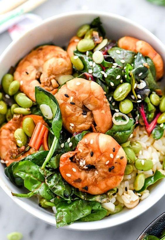 Sesame Shrimp Spinach