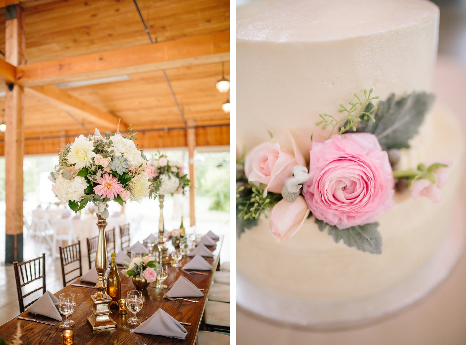 pink roses wedding reception