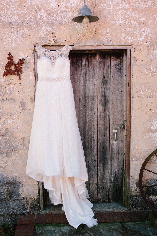 wedding dress hanging