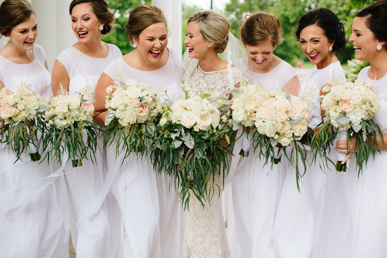greek goddess wedding bridesmaids in white