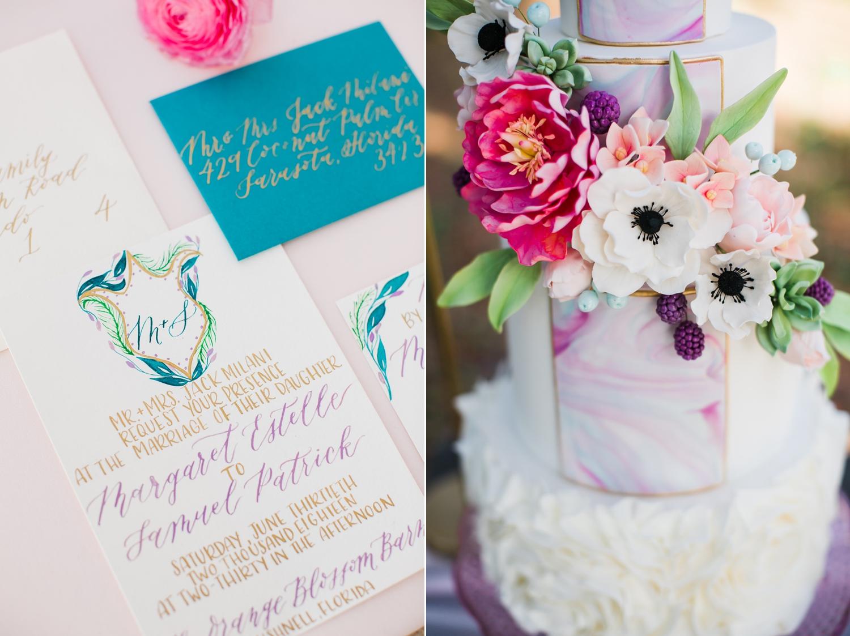 Paper Goods:  Kelly Milazzo , Cake:  Laurel & Oak Cake Design