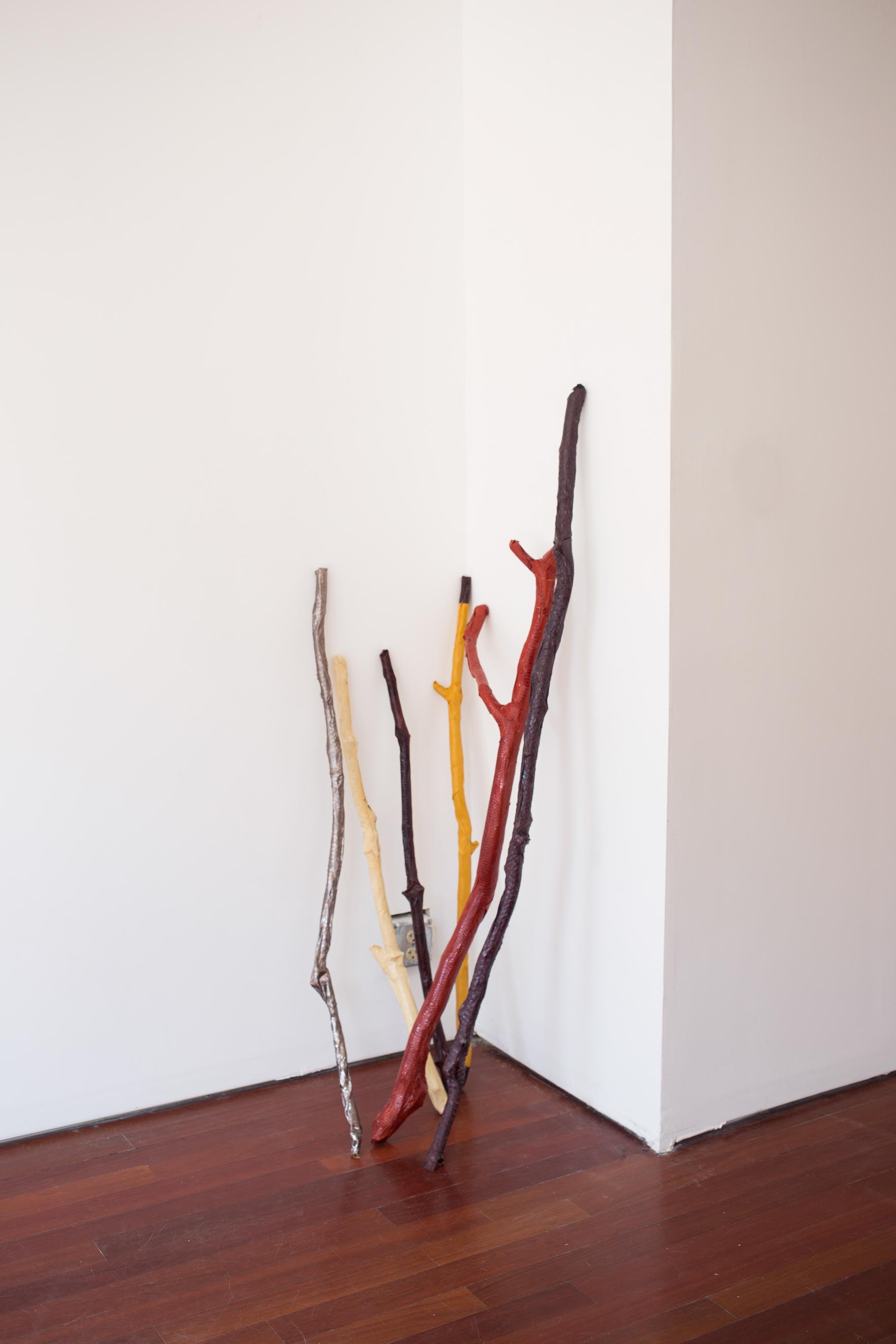 Lisa Kirk, Shaman Sticks , 2016. Installation view. Efrain Lopez Gallery.