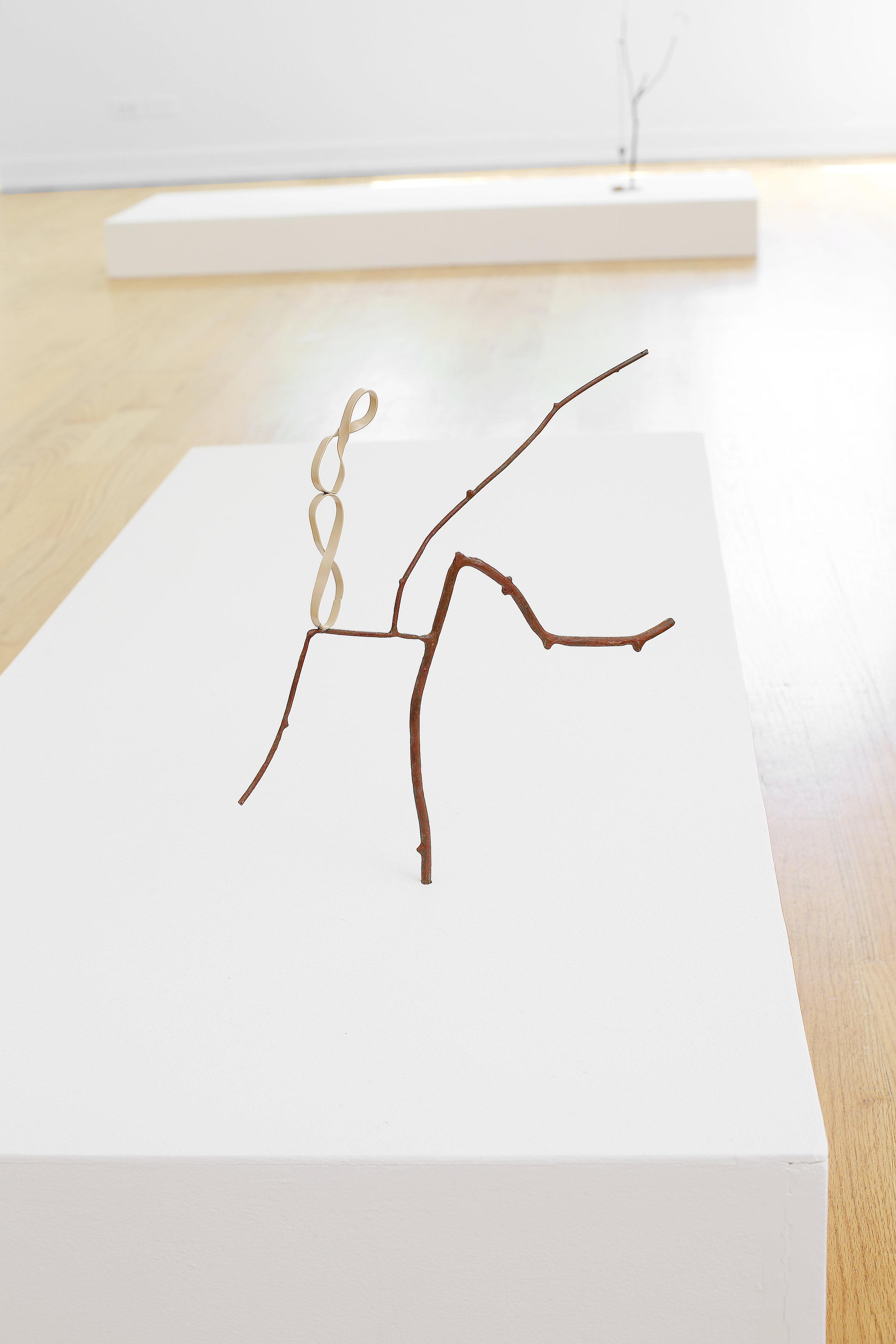 Lesley Jackson,   Balancing Eternity on Your Knee , 2017,Steel twig, steel rubber bands, enamel