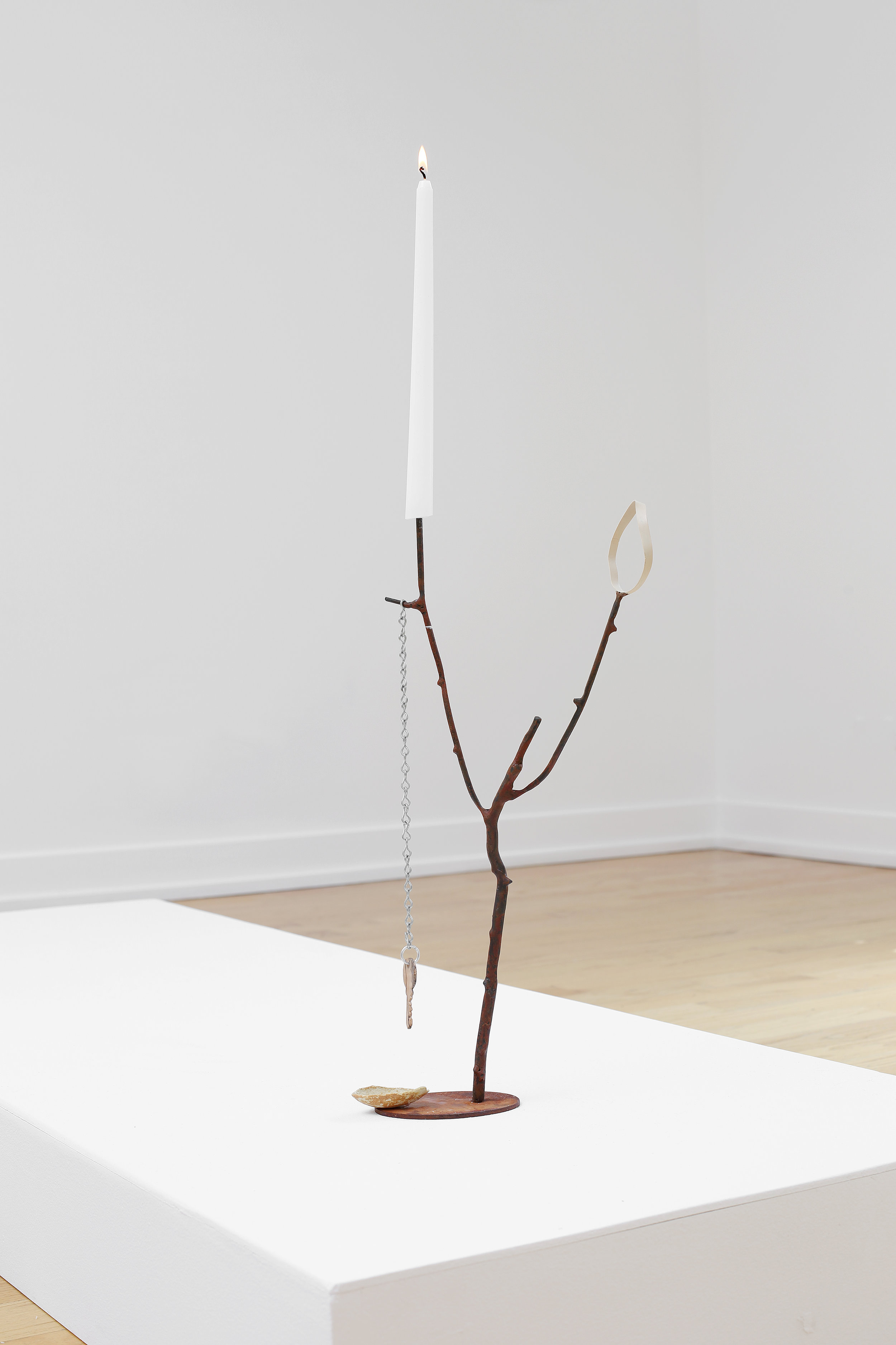 Lesley Jackson ,  Candelabra for Night Walking Like a Romantic , 2017, steel, twig, steel rubber band, enamel, candlestick, chain, maple house key, and ceramic Frito chip
