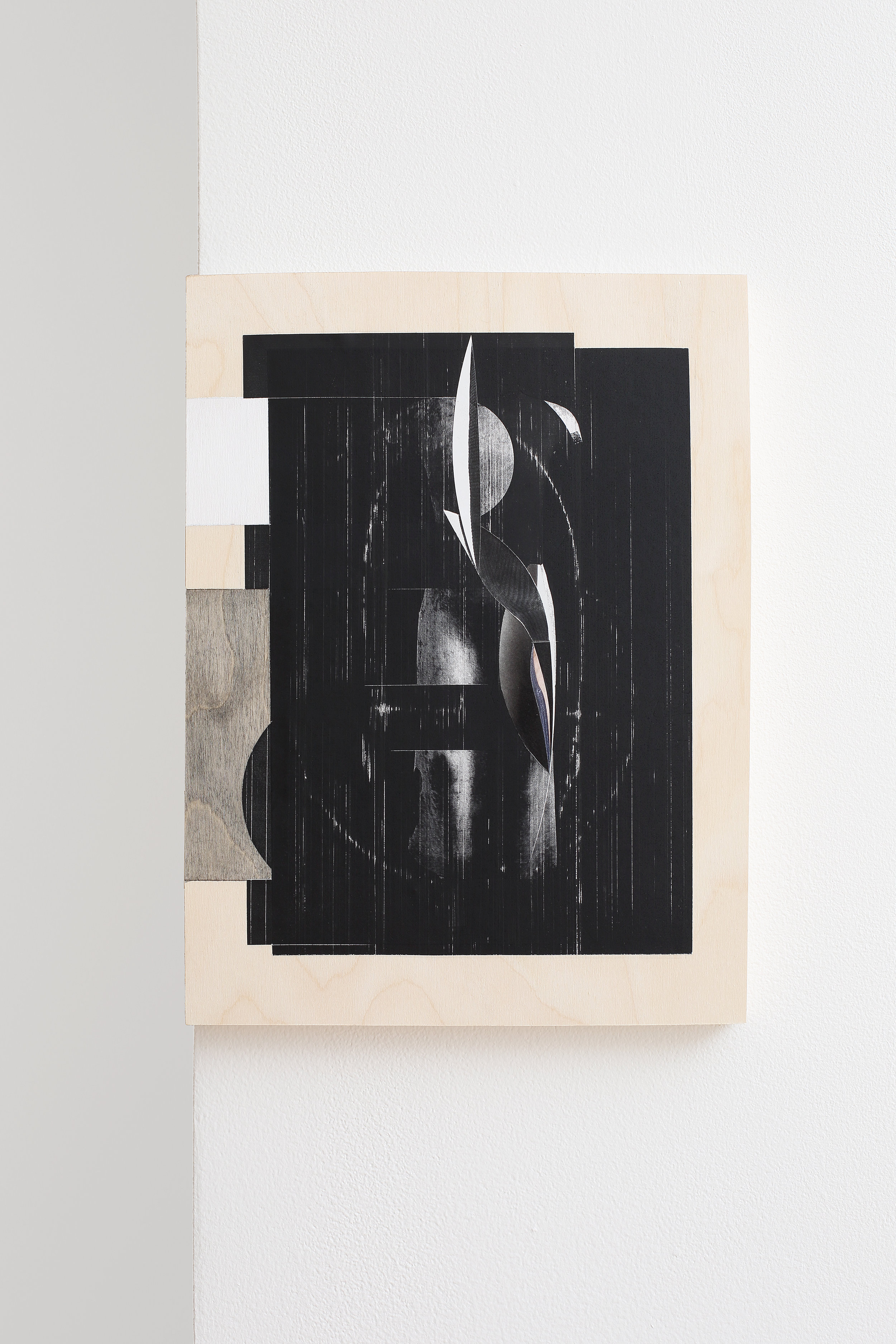 Omar Barquet ,  nu (syllables series) , 2016, paper collage on wood