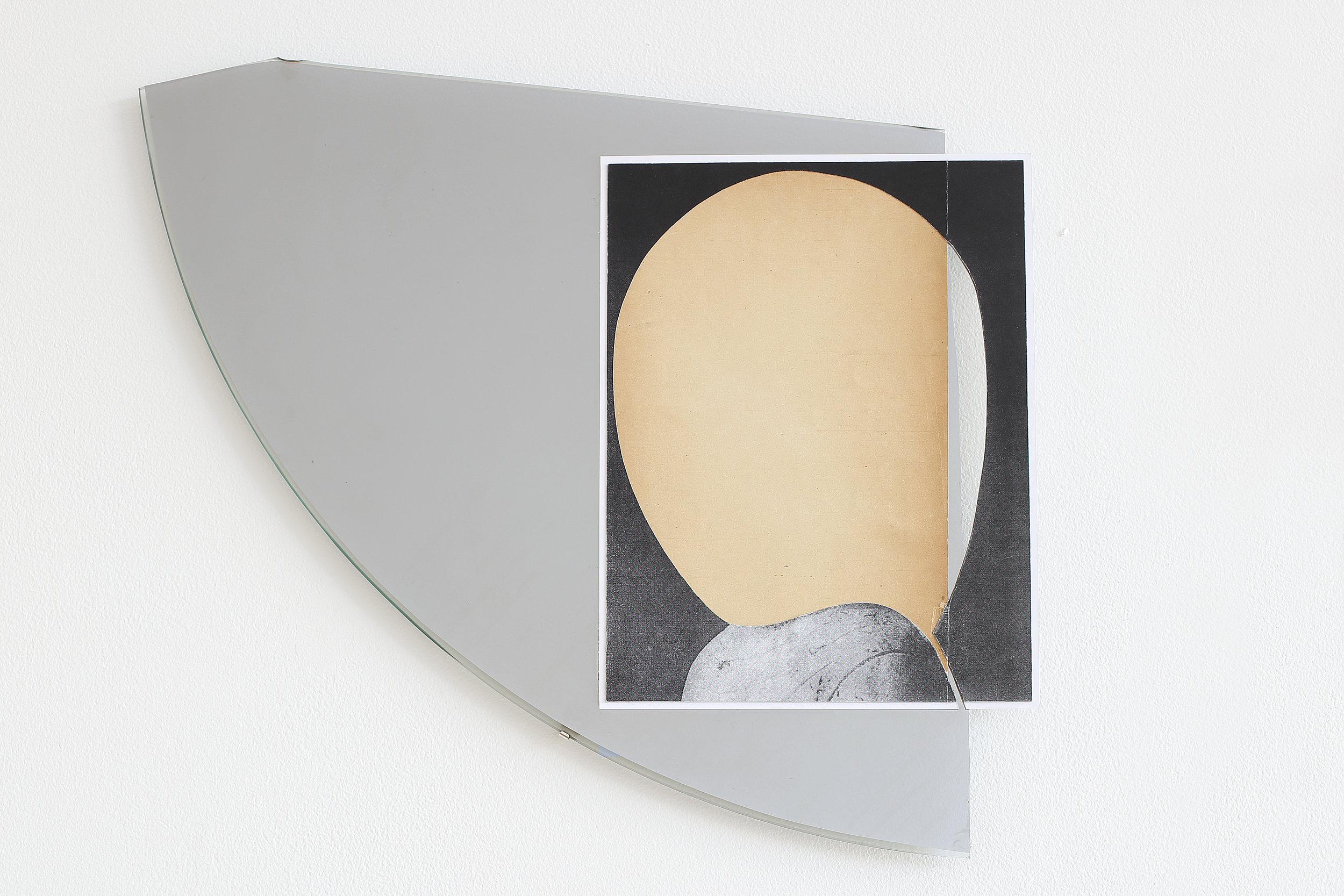 Omar Barquet ,  Gota de sol (Para O. Paz) , 2015,Modified mirror, collage, and gold pin