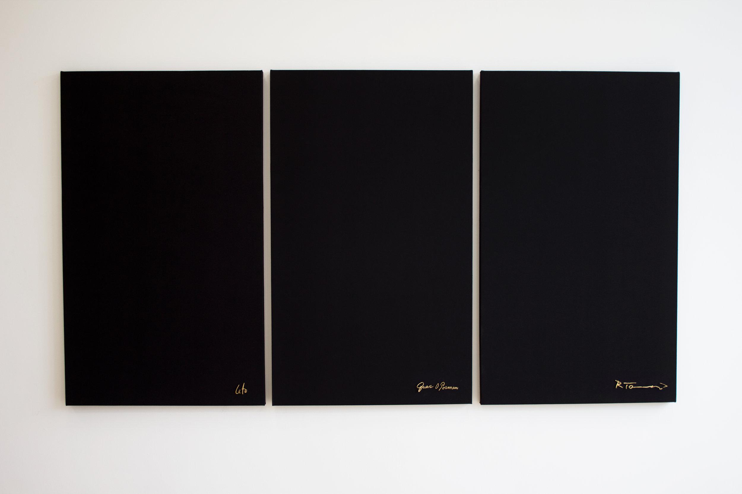 La Negación la Pintura Mexicana , 2017, canvas and bronze, triptych 60 x 36 inches per panel