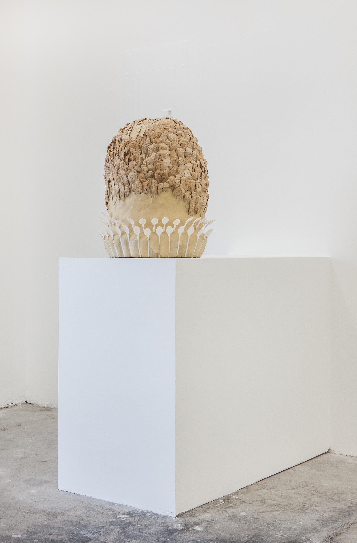 Den, Den, Den , 2013, wood, plastic, paper pulp, 53 x 44 x 44 cm