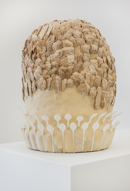 Eva Löfdahl ,   Den, Den, Den , 2013, wood, plastic, paper pulp, 53 x 44 x 44 cm