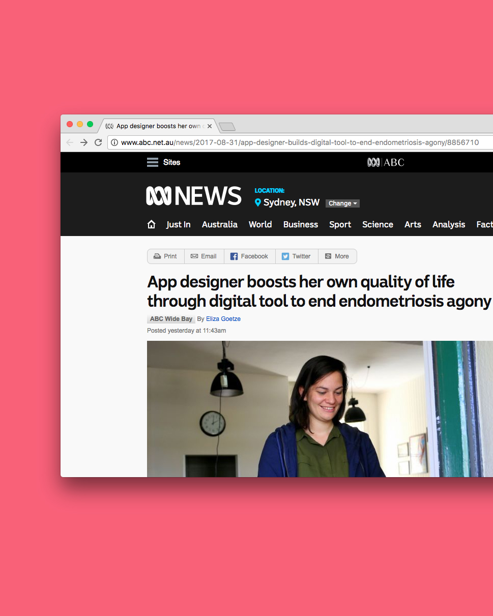 PRESS — Manage Endo  The application I'm building, Manage Endo, was recently profiled by the ABC (🤷‍♀️).   You can have a read here ☞