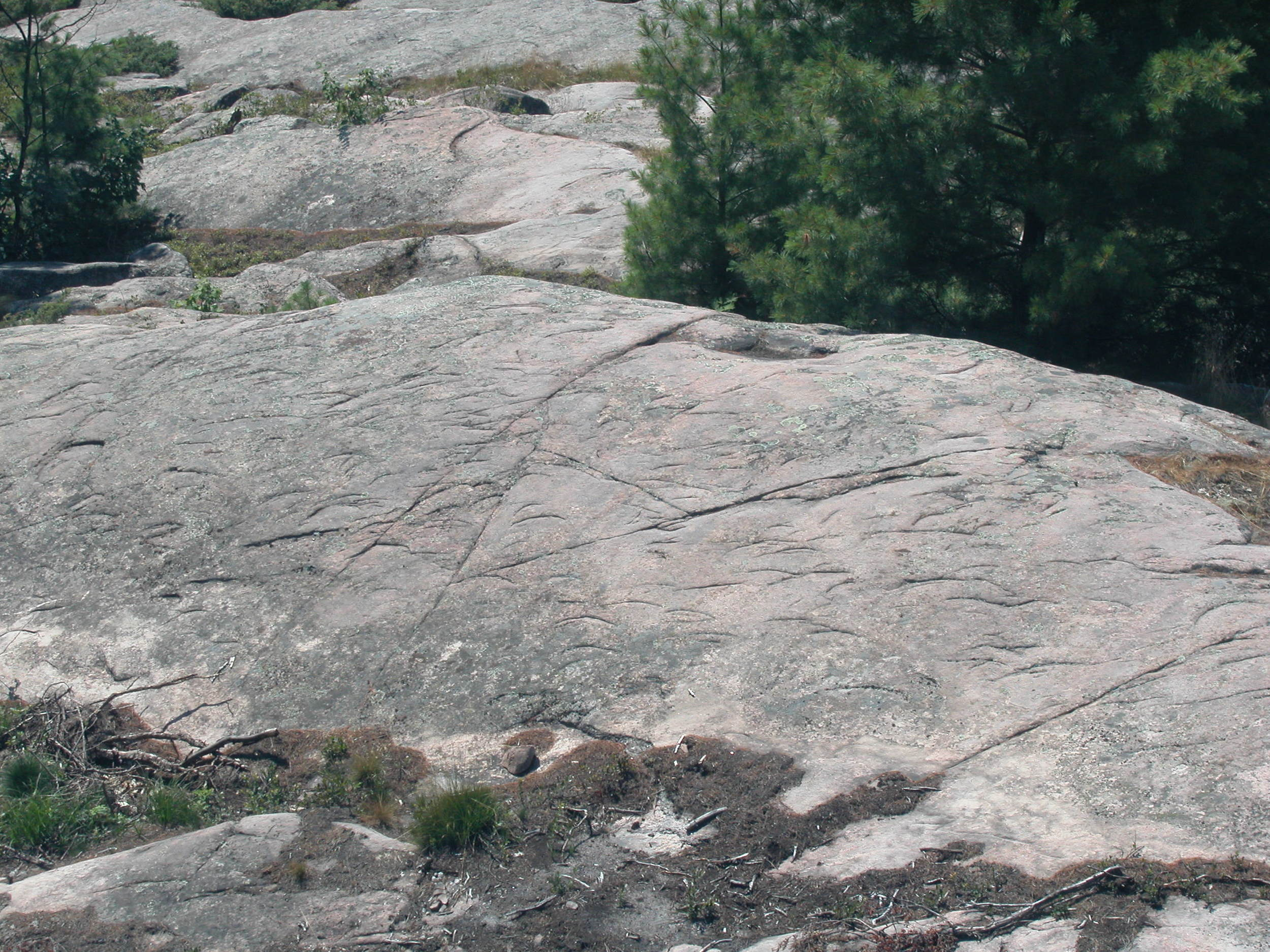 Chattermarks caused by glaciers