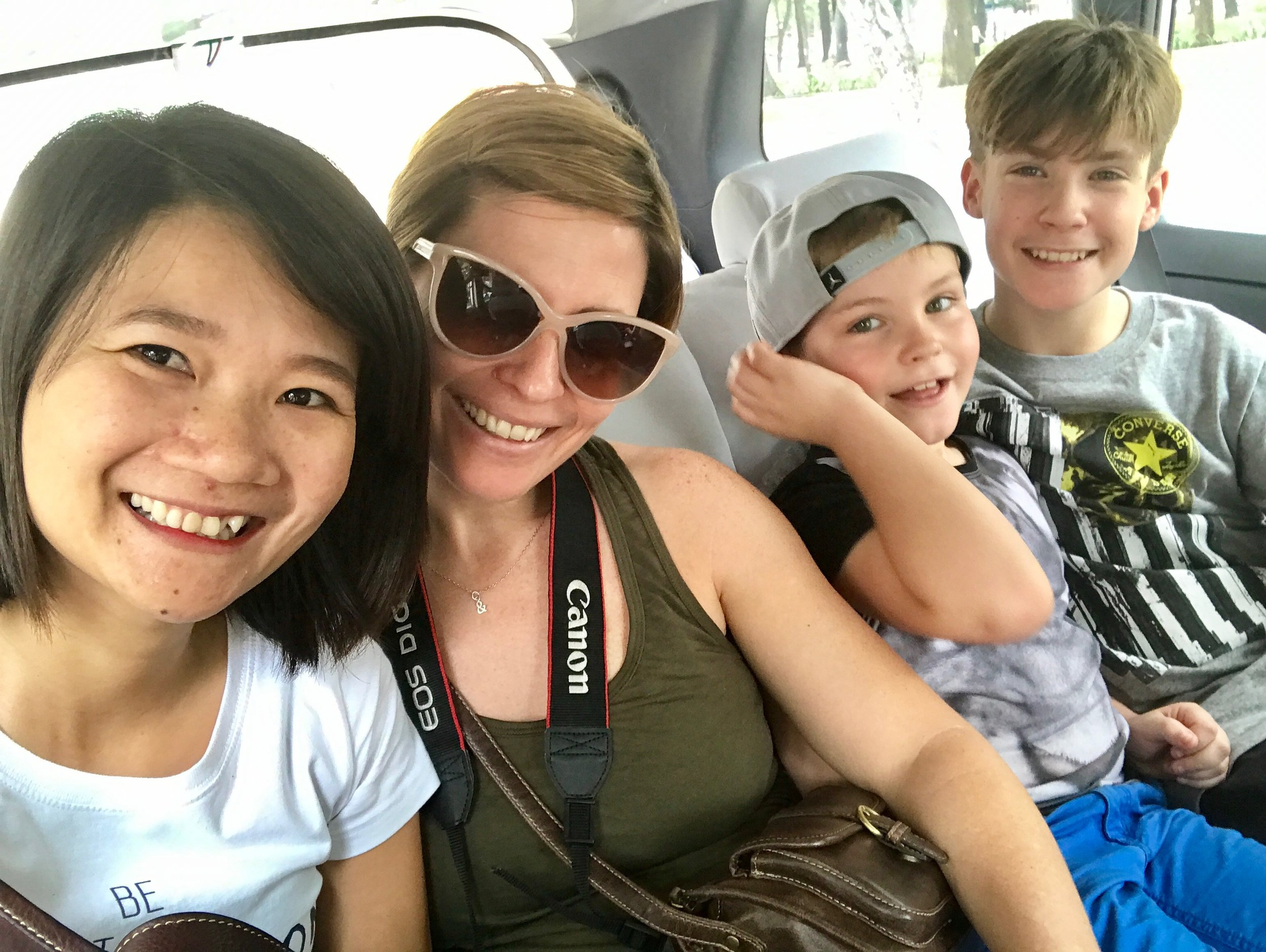Rebecca and her family from England enjoy a little car air conditioning!