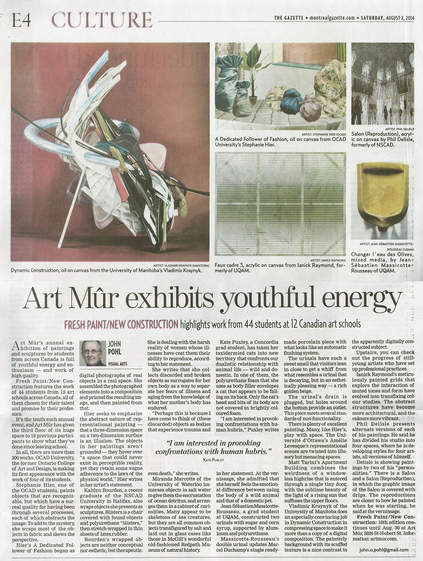 Visual Arts: Art Mûr exhibits youthful energy   Montreal Gazette  Saturday, August 2, 2014.