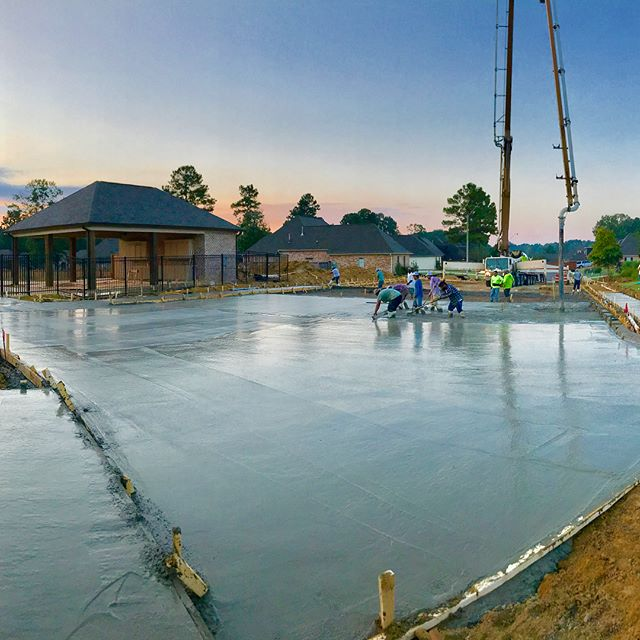 Early morning concrete pour for neighborhood pool project recently completed in Scottish Hills subdivision #construction #concrete #pool #hurryupsummer