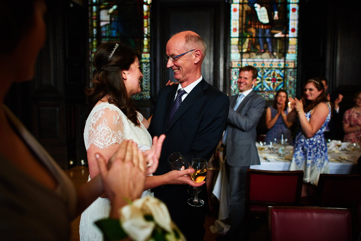 Bride with her father - reportage wedding photography at Stationers Hall London