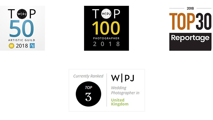 Top 50 Artistic Guild 2018 / Top 100 Wedding Photojournalistic Association/ Top 30 This is Reportage 2018 / #1 WPJA Wedding Photographer in West Midlands /