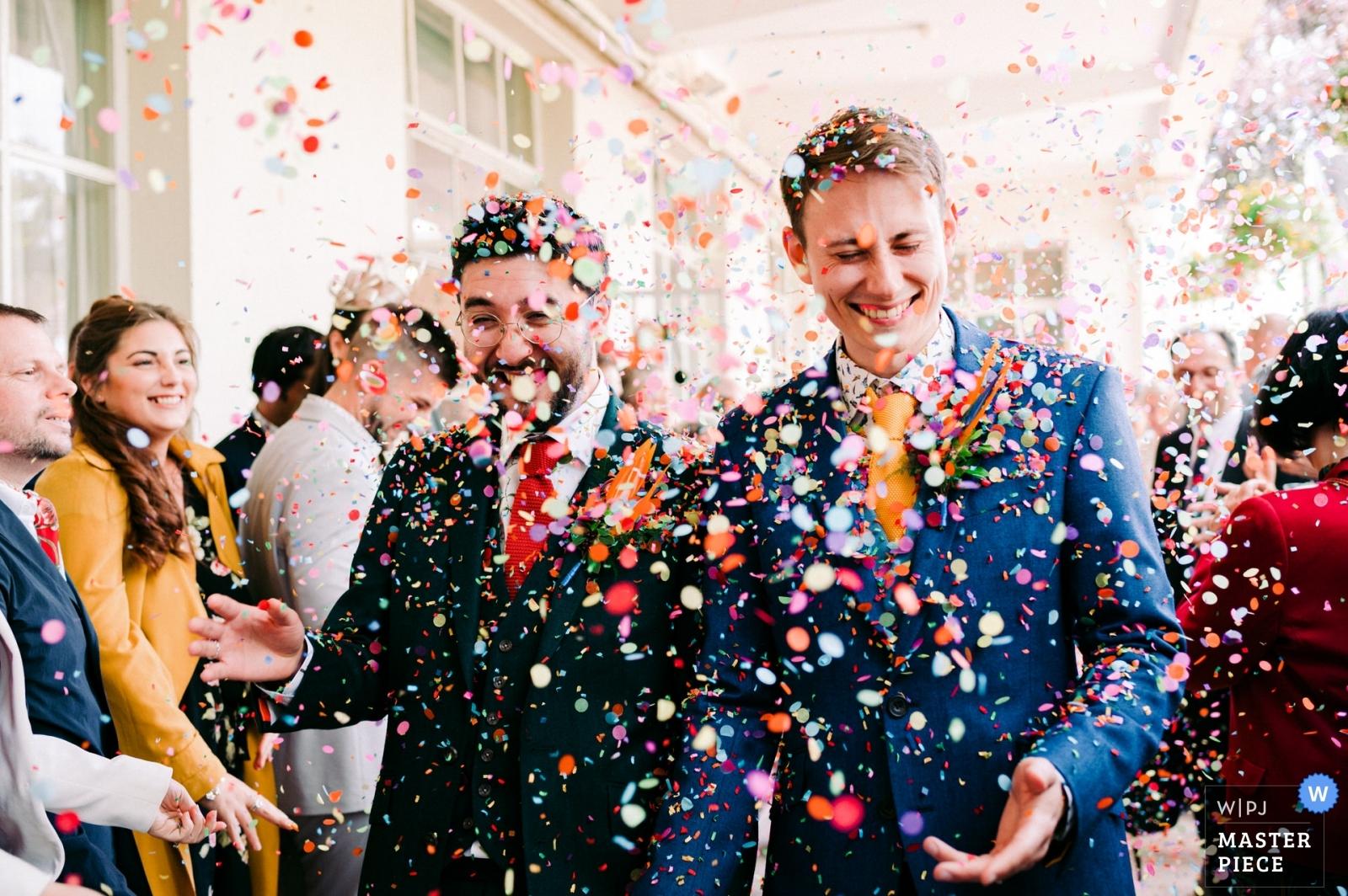 same sex wedding - confetti run