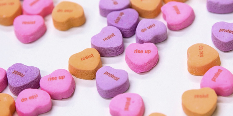 Heart Candies created to promote National Strike day.