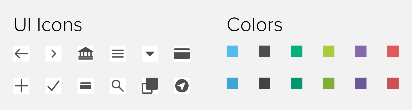 A small sample of our icon and brand color symbols