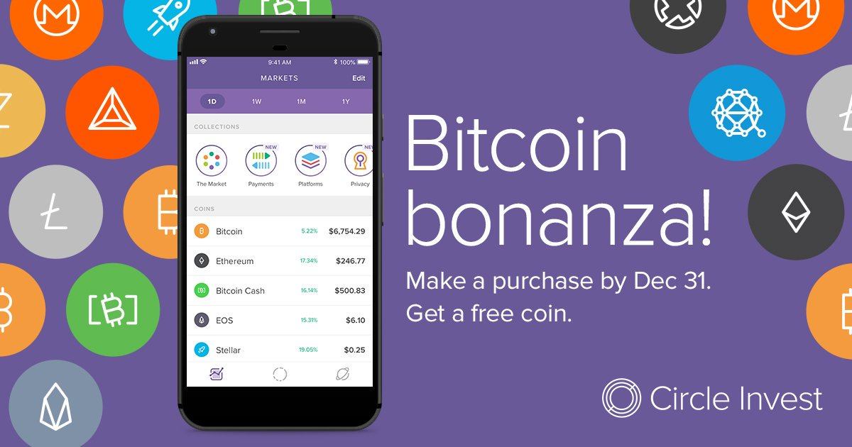 """Social graphic for Circle's """"Bitcoin bonanza"""" promotion, featuring my library of crypto asset icons"""