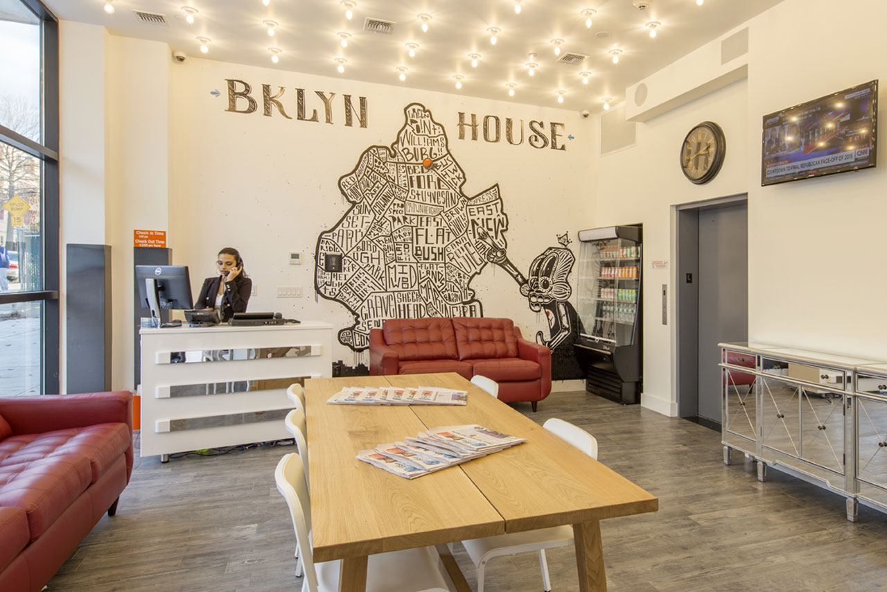 Lobby of Bklyn House, mural by artist Dink C