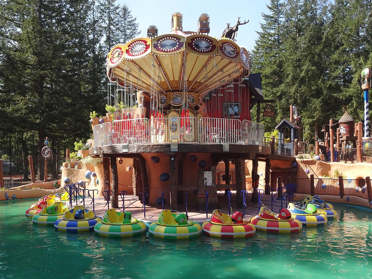 Cultus Lake swing ride and bumper boats.