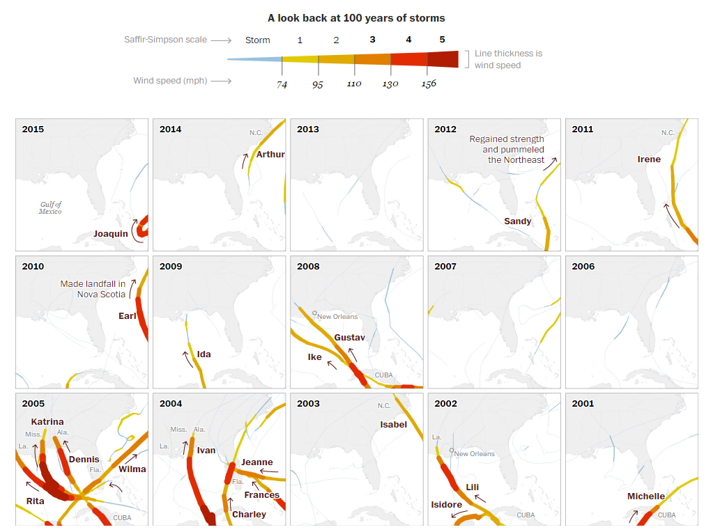 Quelle:  Washington Post , 100 years of hurricanes hitting and missing Florida, visualized