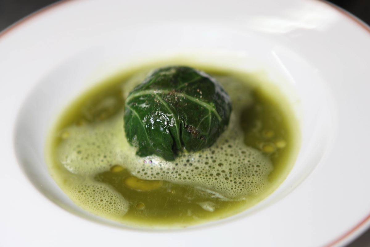 Stuffed Kale Leaf, Mate Tea Bouillon , L'Arp  ège, Paris