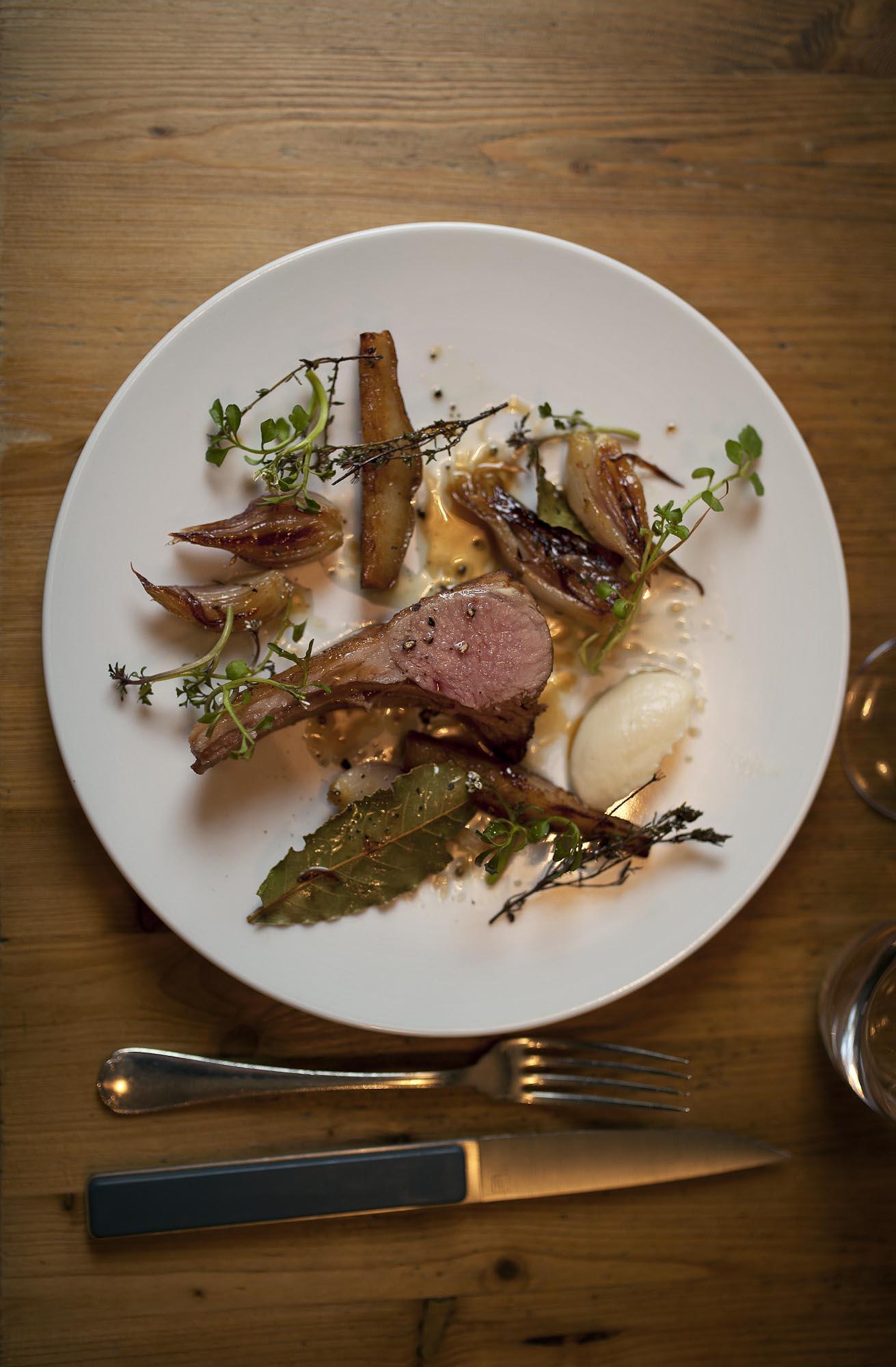 Katsuaki Okiyama, Abri. Roasted rack of lamb.