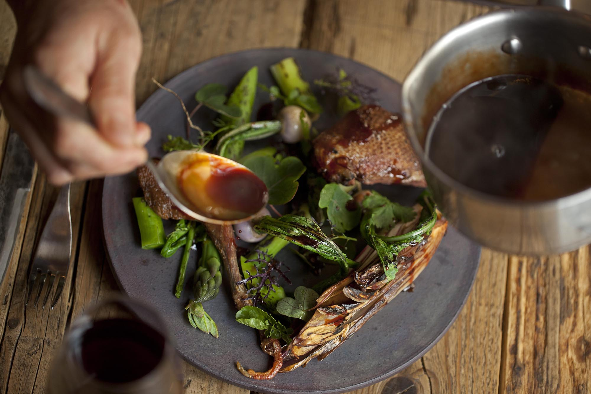 Taku Sekine, Dersou. Pigeon, green asparagus, turnips, herbs, stew juice, trevisse salad.