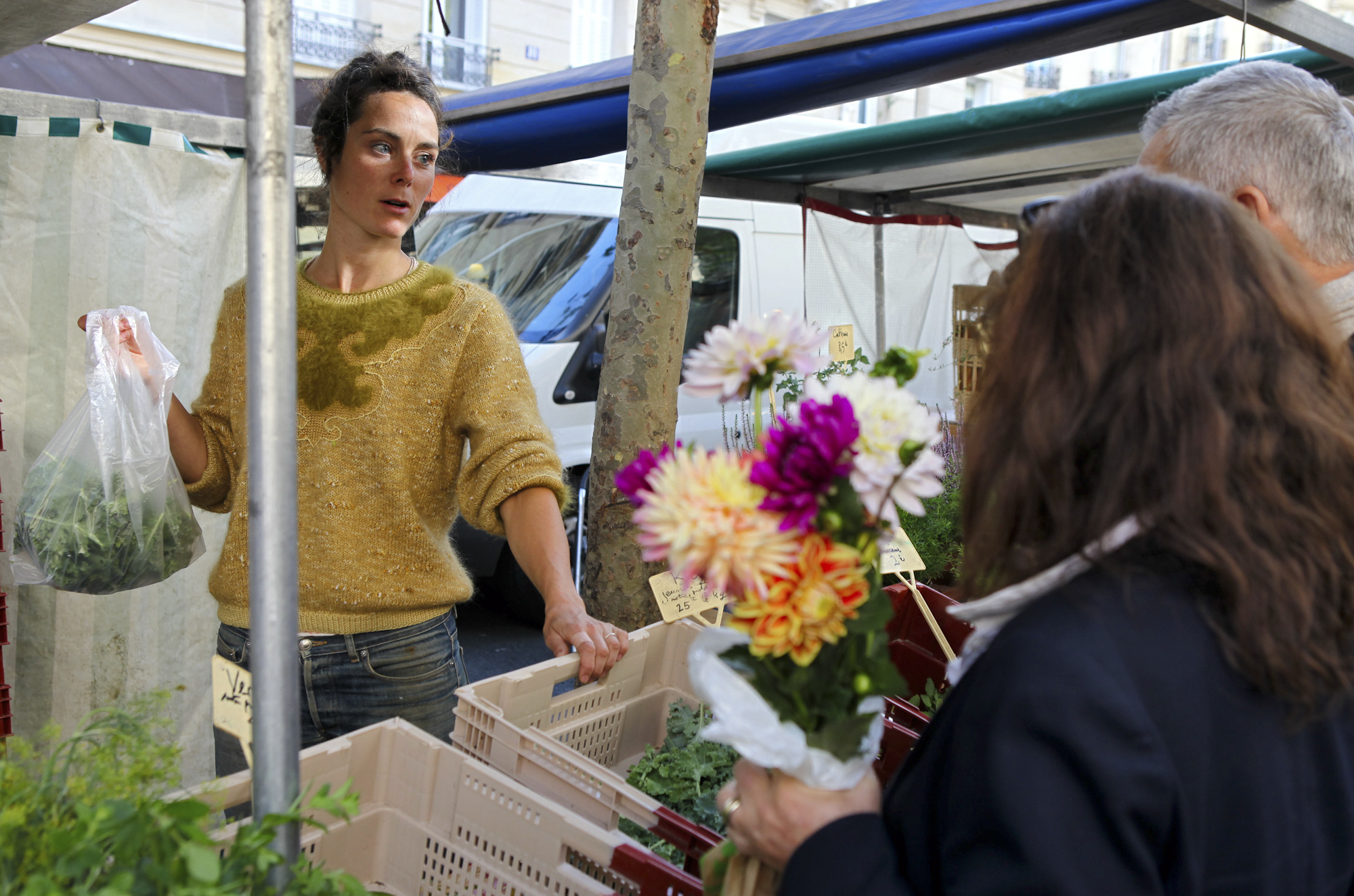 Raspail Organic Market. Hermione Boehrer's stall where she sells kale, aromatic herbs & various young sprouts.