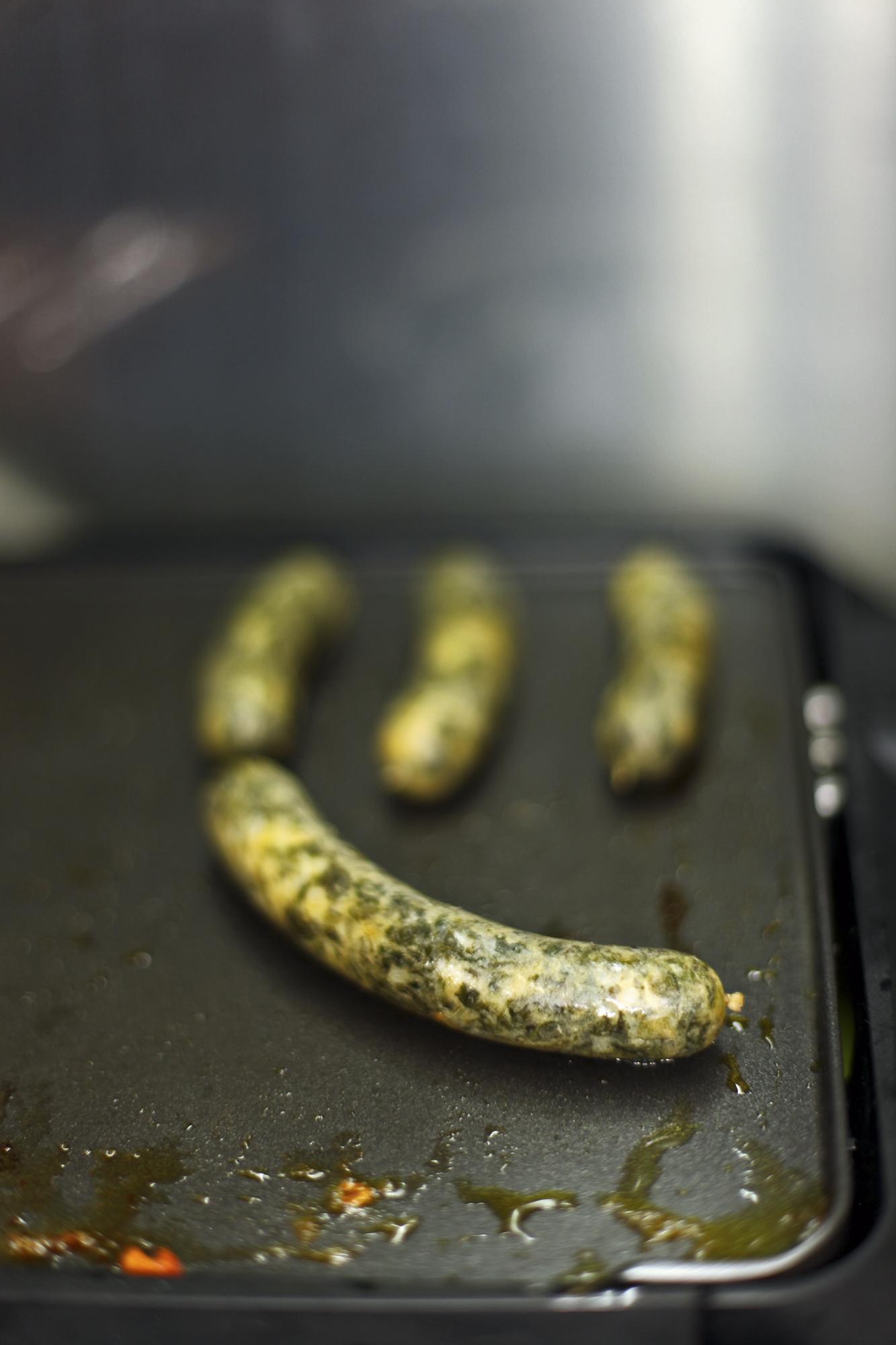 L'Arpege, three Michelin stars restaurant in Paris. Vegetarian kale sausage.