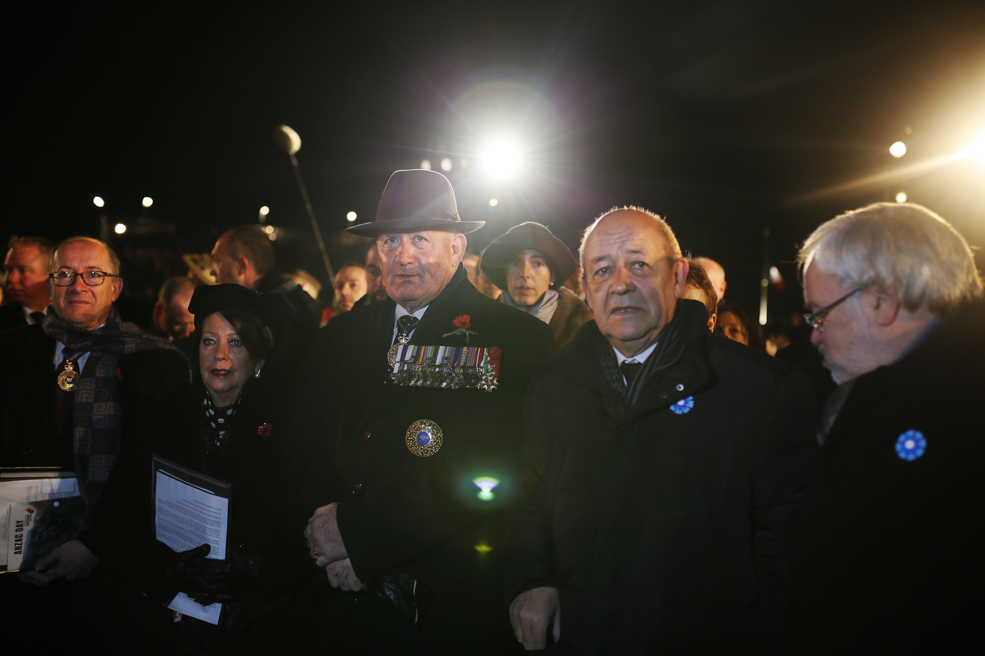 ANZAC Day dawn service. G.G Cosgrove and French Minister of the Armies Jean-Louis Le Drian.